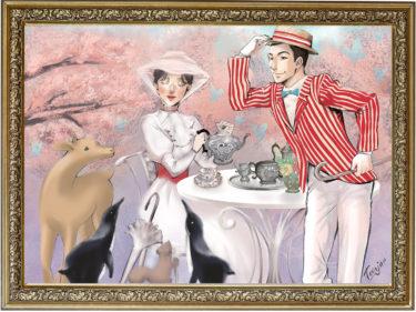 メリーポピンズ、春のティータイム◆Edwardian Afternoon Tea time with Mary Poppins◆コラボ企画最新イラスト♪